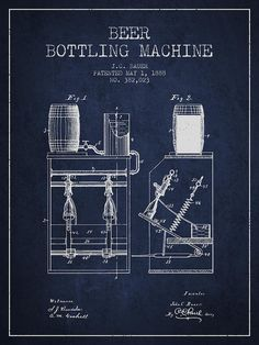 1888 Beer Bottling Machine Patent - Navy Blue Drawing by Aged Pixel