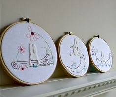 Nursery Decor Hand Embroidery Hoop Art Woodland Bunny Rabbit Baby Room Wall Hanging Set of 3 Baby Shower Gift. $52.99, via Etsy.