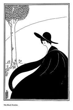 The Black Domino by Aubry Beardsley Gustav Klimt, Brighton, Illustration Art Nouveau, Japanese Woodcut, Aubrey Beardsley, Drawing Prompt, Art Deco, Art Japonais, Alphonse Mucha