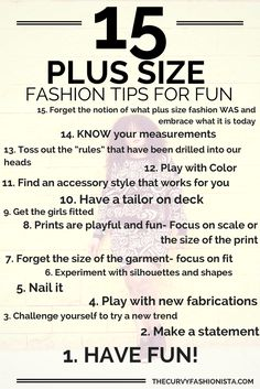 15 Plus Size Fashion Tips to Know So You Can Have Fun posted by The Curvy Fashionista Marie Denee. Plus Size Tips, Plus Size Fashion For Women, Fashion Tips For Women, Fashion Advice, Plus Size Women, Womens Fashion, Fashion Ideas, Fashion Quotes, Ladies Fashion