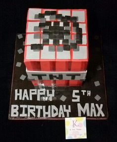 Minecraft Game Inspired TNT Square Cake.
