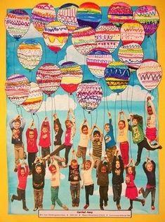 "Kindergartengruppe oder Klassenfoto kreativ - From exhibit ""Art Auction Gan by (Art ID from Thayer Elementary School— Kindergarten United States Class Art Projects, Collaborative Art Projects, School Auction Projects, Kindergarten Art Projects, Orla Infantil, Arte Elemental, Classe D'art, Ecole Art, Preschool Art"