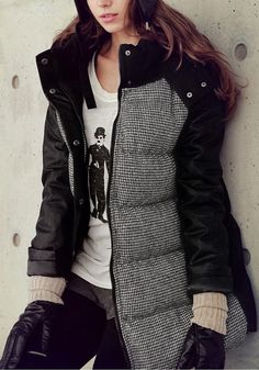 Faux Leather Puffer Coat - Outwears and Jackets