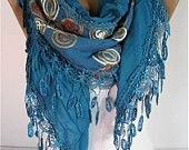 Elegant  Scarf - Cowl with Lace Edge -Fashion Scarf-Scarf, shawl-Fashion accessories- for her- christmas gift