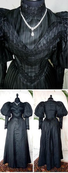Reception gown ca. 1895. Black with white stripes silk-cotton blend with black lace on bodice & sleeves. Two pieces. Skirt hemmed in purple velvet. Antique-Gown