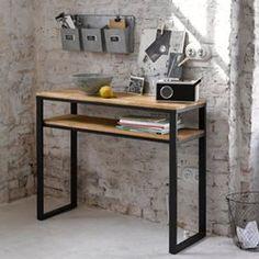 Console double plateau, chêne massif abouté et aci La Redoute Interieurs - Table console, guéridon