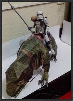 Star Wars - Dewback Trooper Free Papercraft Download - http://www.papercraftsquare.com/star-wars-dewback-trooper-free-papercraft-download.html