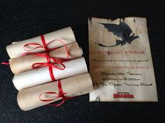 How to Train Your Dragon party invitation. Tea and coffee stained card, ironed, printed on, rolled into scrolls and tied with ribbon. Dragon Birthday Parties, Dragon Party, Birthday Party Themes, 5th Birthday, Birthday Ideas, Toothless Party, Dragon Baby Shower, Viking Party, Knight Party