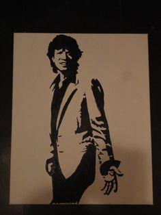 Olieverf schilderij van Mick Jagger van de Rolling Stones