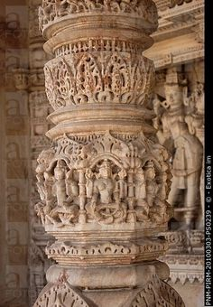 Details of carving on a column in a temple, Swaminarayan Akshardham Temple, Ahmedabad, Gujarat, India