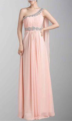Classic Beaded Single Shoulder Floor Length Evening Gown KSP038