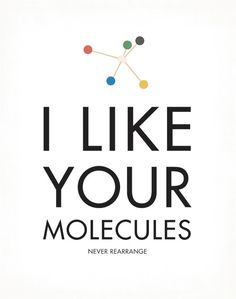 I Like Your Molecules Art Print Chemistry Type by halfpencedesign   etsy