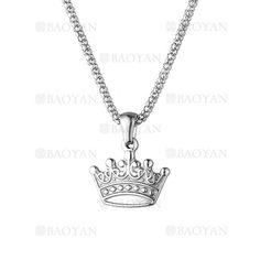 collar fina con colgante de corona imperial en acero plateado inoxidable -SSNEG1033872