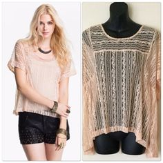 """Free People Boxy Lace Top Free people boxy lace top, size large, color peach, 100% Nylon.  23"""" -24"""" in length. Free People Tops"""