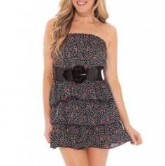 Strapless Tiered Ruffle Dress with Belt.. if it were mine I would want the dress to have ruffle straps maybe