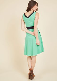 Peppy, Set, Go! A-Line Dress. Gold-medal glamour is but a twirl away with this bright spearmint dress - part of our ModCloth namesake label! #green #modcloth