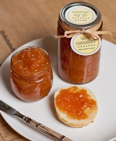 Pear Cinnamon Jam--I used 2 cinnamon sticks instead of the ground cinnamon and the juice of a whole lemon. I also cut the sugar to 3 cups. Came out very tasty, with a good consistency. 8/26/14
