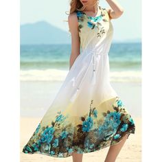 Refreshing Floral Print Sleeveless Women's Chiffon Dress | TwinkleDeals.com