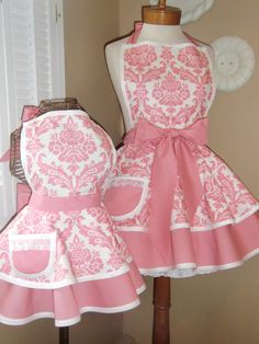 Mother and Daughter Matching Retro Apron Set in Pink Damask Print...Custom Order Your Sizes