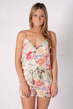 chasing butterflies playsuit - peach/floral