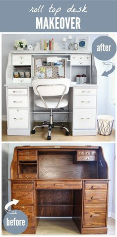 Desk Makeover: Business on the Outside, Party on the Inside! Before and After - DIY Stenciled Roll-Top Desk Makeover! Such a dramatic before & after. Amazing what fresh paint and a little vision can do!Before and After - DIY Stenciled Roll-Top Desk Makeov Refurbished Furniture, Repurposed Furniture, Painted Furniture, Antique Furniture, Furniture Projects, Furniture Making, Home Furniture, Bedroom Furniture, Furniture Market