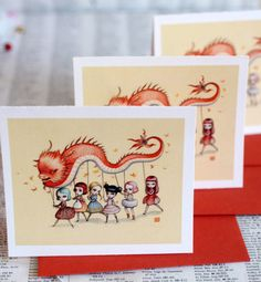 Dragon Dancers - It's High Time for a Party -3 blank notecards- by Mab Graves