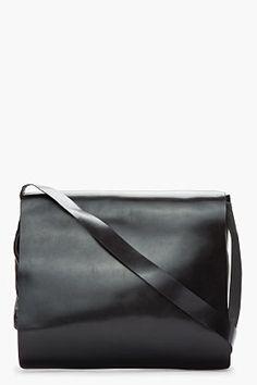 ANN DEMEULEMEESTER Black Leather Messenger Bag. Classic understated  elegance. Black Leather Messenger Bag 05540368bdf51