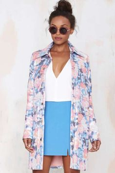Nasty Gal Go with the #Floral #Metallic #Coat