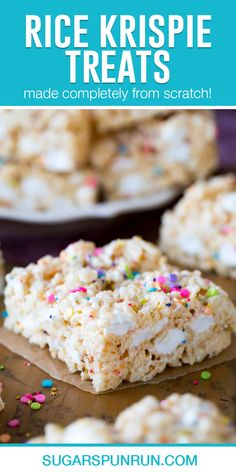 Extra marshmallows, premium butter, a splash of vanilla extract, and plenty of (optional!) sprinkles. That's how I like my Rice Krispie Treats, and I think you're going to love this gourmet twist on this classic treat, too!
