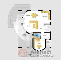 Casa cu etaj 69 | Proiecte de case personalizate | Arhitect Gabriel Georgescu & Echipa Modern House Facades, Modern House Design, Modern Architecture, Contemporary House Plans, Cute House, Facade House, Design Case, Floor Plans, How To Plan