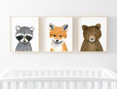 Baby animals set : bear cub, fox cub, raccoon Lets make your little ones room warm and enjoyable! This baby animal art prints collection features a set of 3 prints from my watercolor art collection. If, however, youd like to swap any of them for a different piece in my shop, please give me a notice about which baby animals you want to swap it. Materials: Printed on beautiful high quality, archival and acid free velvet fine art paper using professional Epson Ultra Chrome inks. Prints will…