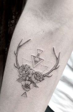 A geometric flower tattoo