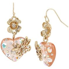Betsey Johnson Flat Out Floral Heart Earrings (42 AUD) ❤ liked on Polyvore featuring jewelry, earrings, multi, hook earrings, flower jewelry, flower jewellery, earring jewelry and antique gold jewellery