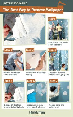 DIY Tutorial: The Best Way to Remove Wallpaper. http://www.familyhandyman.com/walls/the-best-way-to-remove-wallpaper/view-all
