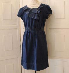 Anthropologie Blue Workaday Denim Dress By Maeve Size L Ruffles Cotton $158 Cute