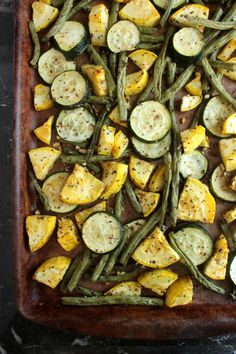 Perfect for the summer veggies we picked up at the farmer's market! Summer Vegetable Sheet Pan Meal