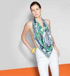 "Le Carré Hermès ""Sous l'Egide de Mars"" scarf in silk twill. Design: Pierre Marie. Play with your Hermès scarf with the Silk Knots app! hermes.com/silkknots #Hermes #Silk #SilkKnots"