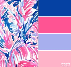 Navy blue, hot pink, lavender and soft pink color scheme inspired by lily pullitzer patterns Pink Color Schemes, Colour Pallette, Beach Color Palettes, Color Combinations, Hot Pink Bedrooms, Lily Pullitzer, Pink Home Accessories, Hot Pink Room, Soft Pink Color