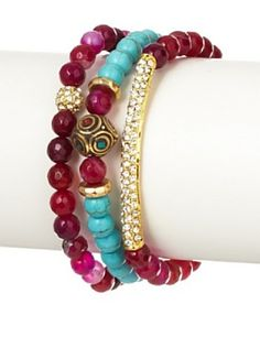 Devoted Jewelry Pink Agate & Turquoise Stretch Bracelet Set