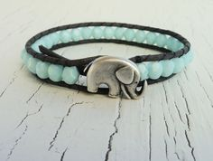 Elephant Wrap Bracelet Mint Blue and Grey by thehummingbead.