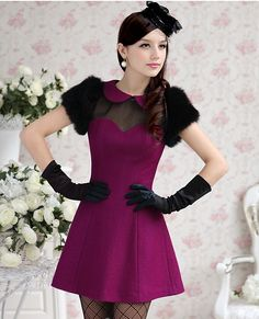 $16.95 Romantic A-line Purple Collar Party Dress