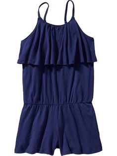 Girls Ruffle-Front Rompers