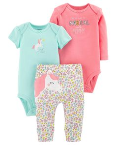 Baby Girl 3-Piece Little Character Set   Carters.com Featuring a sweet embroidered unicorn on the bottom and two coordinating bodysuits, this babysoft cotton set lets her mix and match with essential pants.