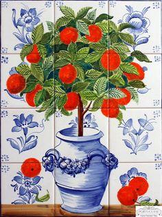 Portuguese tiles Hand Painted Ceramic Tile Mural Kitchen Backsplash Portuguese - Home decor Painting Ceramic Tiles, Tile Art, Ceramic Decor, Fruit Flower Basket, Delft Tiles, Outdoor Tiles, Indoor Outdoor, Arts And Crafts House, Tile Murals