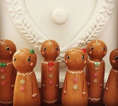 Gingerbread men and women wooden peg doll christmas decorations