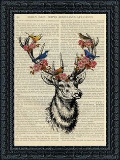 Dictionary Art. Deer with birds and by PageTurnerCreations on Etsy