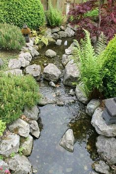 Lookalike our pond, we're going to add more rocks and Lily pads this weekend Outdoor Ponds, Ponds Backyard, Garden Ponds, Garden Stream, Rain Garden, Pond Landscaping, Landscaping With Rocks, Small Water Gardens, Diy Garden Fountains