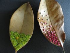 embroidered magnolia leaves