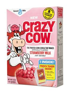 One of the 'lost' kids' cereals from the 1970s.  Dig the freaky cow!