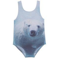 popupshop polar bear swimsuit - swim - girl | Thumbeline Sunday Clothes, Baby Kids Clothes, Funny Outfits, Kids Outfits, Kids Swimwear, Swimsuits, Kawaii, Little Fashionista, Kid Styles